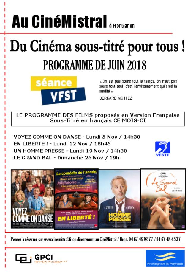 Séances en Version Française Sous-Titrées en Français pour les sourds et malentendants !