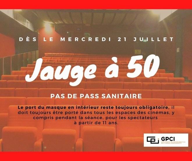 Jauge à 50 personnes - Pas de Pass Sanitaire demandé