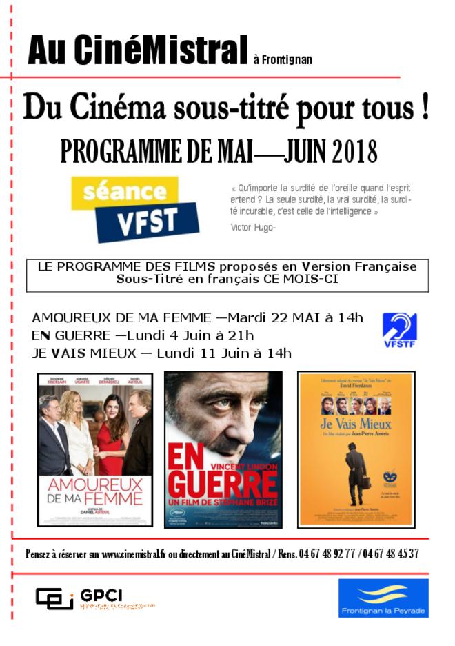 Séances de cinéma français sous titrées pour tous - Mai-Juin 2018